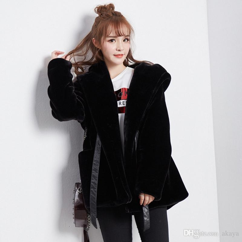 Fur & Faux Fur Female Coat 2018 New Fashion Large size Warm Hooded Winter Long-sleeved Solid color Women's Fur Coat S-XL NUW68