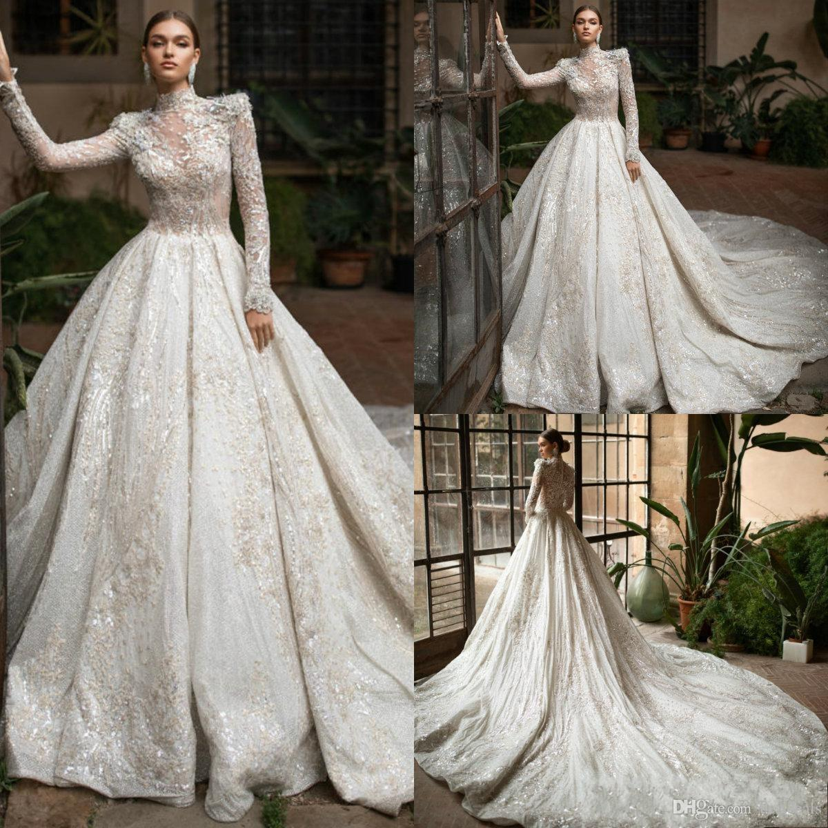 2020 Nouveau luxe Robes de mariée col montant manches longues Fulle Bretelle Tulle Robes de mariée robe de mariée Robe de Noiva