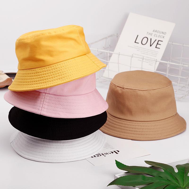 Parent cappello rotondo Bambino solido Colore Flat Top puro cotone pescatore Cappelli Femminile Cappello per il sole maschile Fish Hook Hat Ricamo