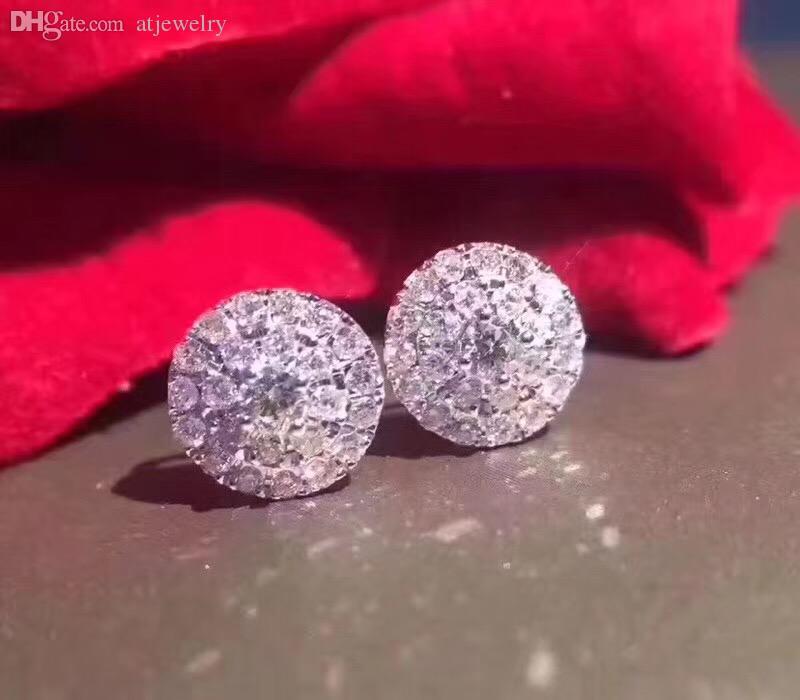 Сертифицированная 18k Solid белого золота бриллиант два круга бриллиантовых запонки серьги ювелирных изделий для ювелирных изделий женщин серьги Wholesal