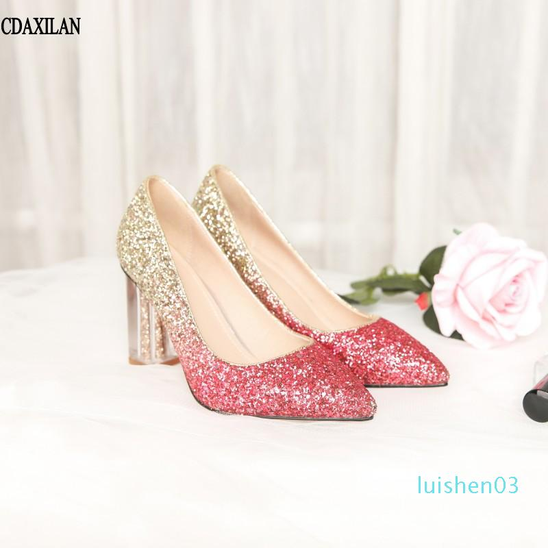 CDAXILAN chegadas novas bombas sapatos femininos lantejoulas fosco salto alto prata vermelho rosa senhoras festa de casamento branca L03 sapatos dedo apontado