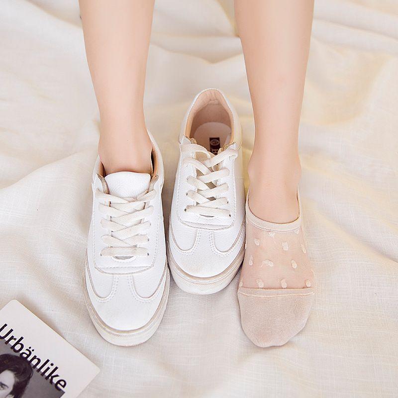 Floral Silk meias de vidro de cristal elástico Calcetines Low Cut mulher Meias da Mulher Adulto Sexy Elastic tornozelo Meias de barco Meias Sox