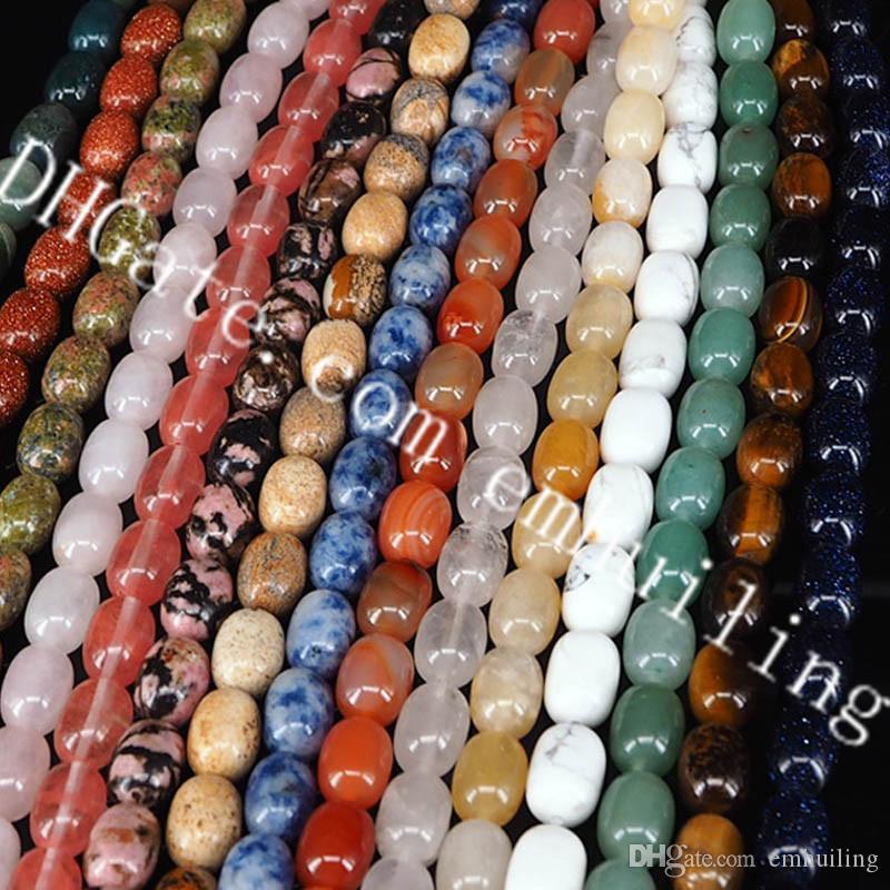 5 Strands Multi Natural Quartz Crystal Barrel Beads 10*14mm Oval Barrel Shape Rhodonite Unakite Clear Rock Crystal Jade Stone Loose Beads