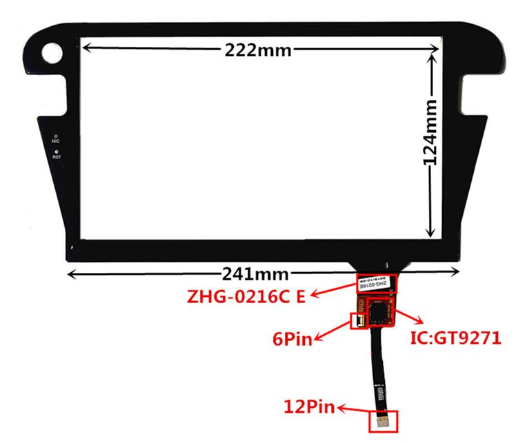 10.2 inch GT9271 ZP2096 ZHG-0216C E Capacitive Touch Digitizer for Car DVD GPS navigation multimedia Touch screen panel Glass