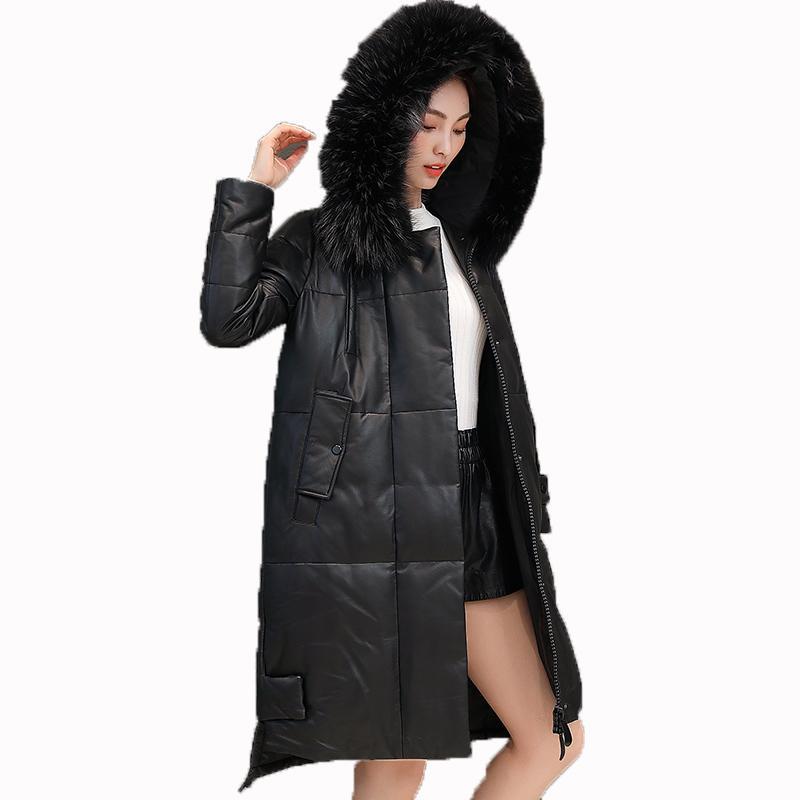 Sonbahar Kış Ceket Kadın Giyim 2018 Koyun Derisi Ceket Kore Gerçek Kürk Ceket Hakiki Deri Ceket Artı Boyutu Aşağı Palto ZT1320