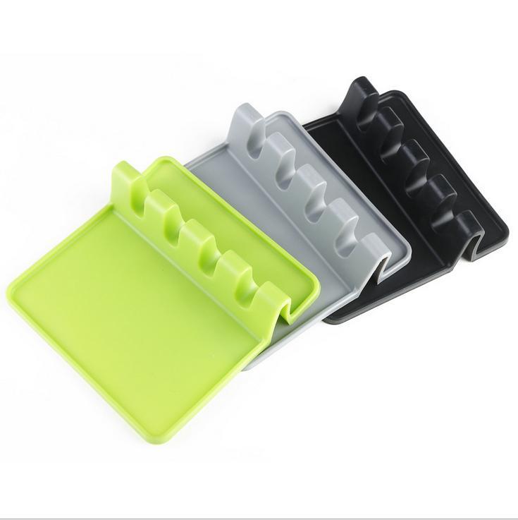 New Silicone utensílio de lazer com gotejamento Pad para Utensílios Múltiplas de Uma vez, resistente ao calor, Titular BPA-Free colher descanso colher para Fogão Top