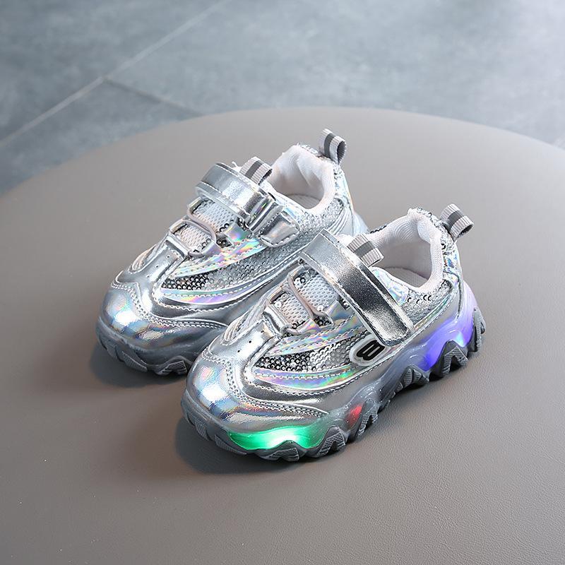 Девочки Мальчики обувь малышей для новорожденных Детская обувь Письмо Кристалл светодиодные Световая Бег Дети Спорт Кроссовки