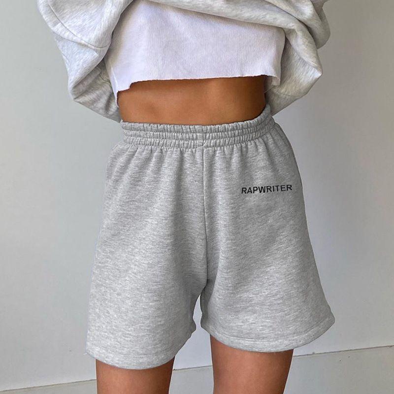 Rapgrount womens verão sweatpants shorts carta impressa elástico elástico calções calças calças estilo street womens casual shorts