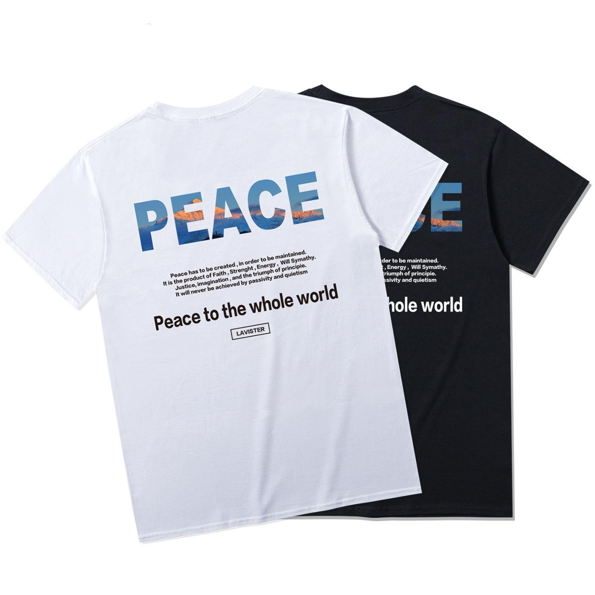 Casual Men's T-shirt 20SS Summer Peace to the whole world Printed Peace-loving judicial fairness theme Fashion personality loose T-shirt