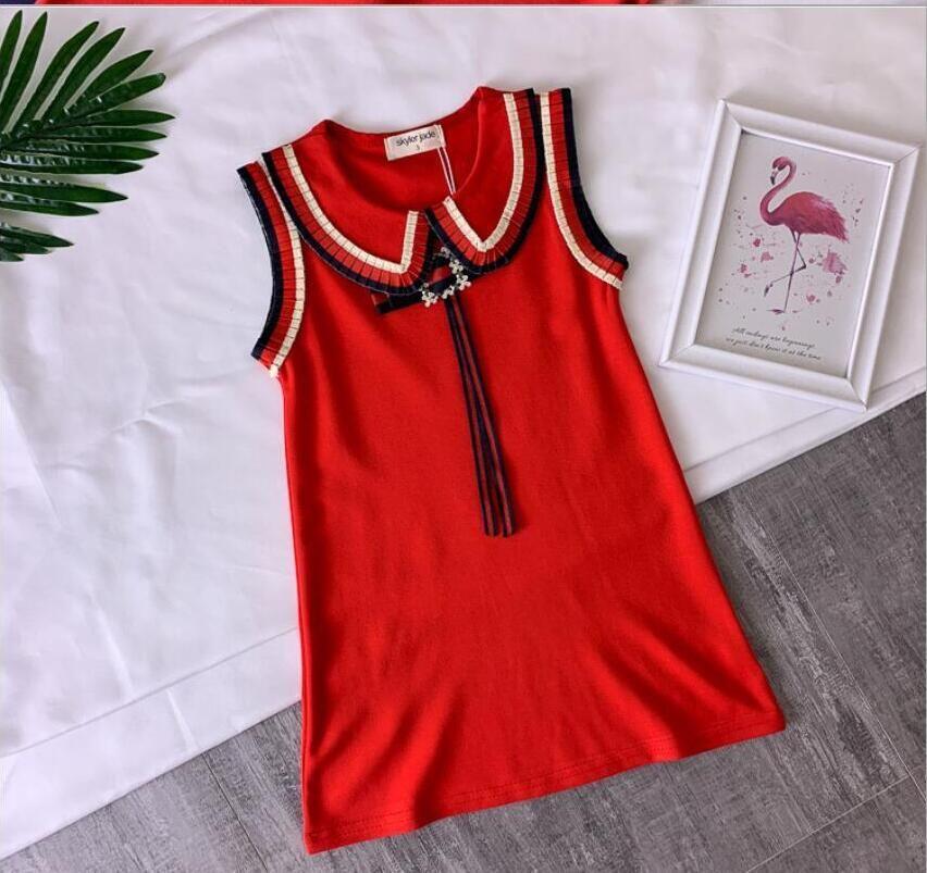 bow dress vest skirt baby cotton A word Slim skirt luxury quality dress princess wedding dress