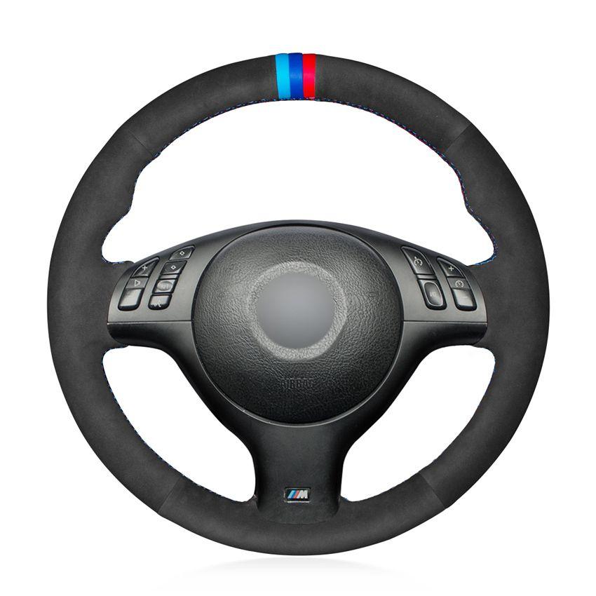 أسود من جلد الغزال اليد خيط مريح التوجيهية لينة تغطية عجلة القيادة لسيارات BMW M الرياضة E46 330I 330CI E39 540i 525i 530I M3 E46 M5 E39