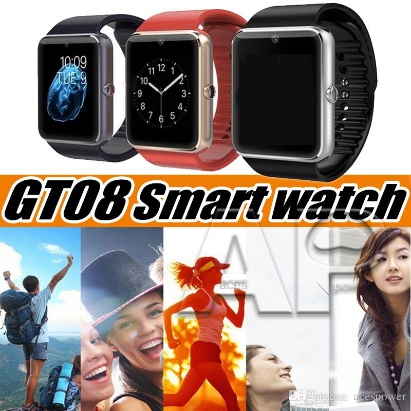 GT08 Smart Watch Touch Screen Smartwatch Sport Pedometer Fitness Tracker Android Call Phone SIM Card Slot Push Message with Package