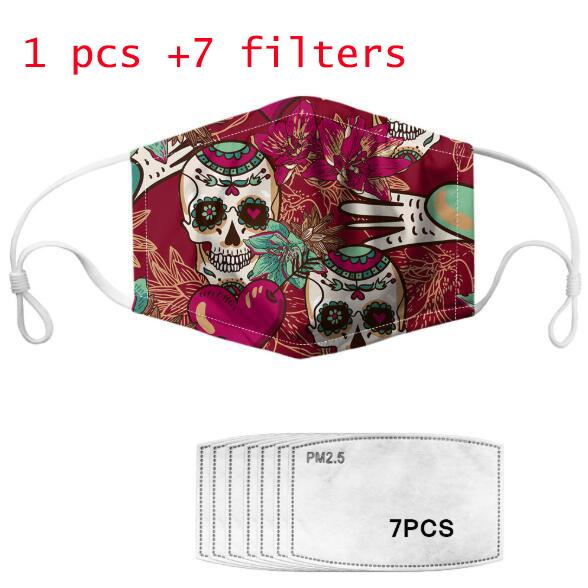 Оптовая продажа 2020 новый стиль моющиеся маски леденящий кровь череп анти-туман пылезащитный фильтр PM2. 5 DHL\FEDEX доставка
