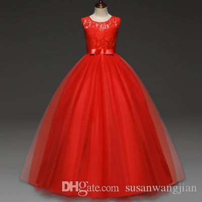 Vestido largo de encaje floral de la boda de la moda europea simple linda de la boda de las niñas pequeñas amarillo rojo blanco azul del partido floral de los años