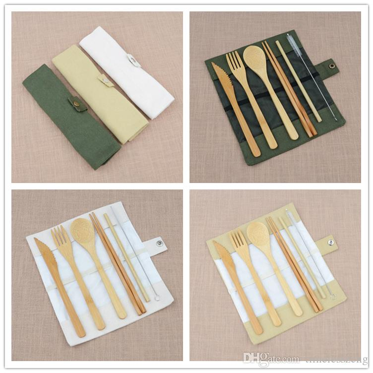 7pcs / set Taşınabilir Seyahat Çatal Seti Bambu Bıçak Takımı Chopsticks Çatal Kaşık Straw Açık Sofra Seti Faydalı Parti Wedding Guest Hediyeleri