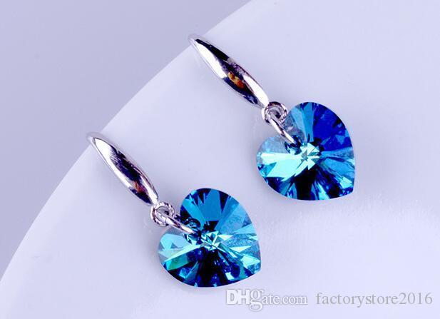 En quanlity moda 925 gümüş sevimli kalp aşk düğün mavi Elementler Avusturya kristal taş küpe takı