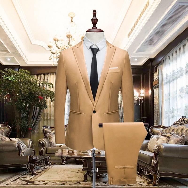Heflashor 2018 Men's Suit Wedding Male Blazers Slim Fit Luxury Suits For Men Business One Button 2 Pieces(suit Jacket+pants) Y190420