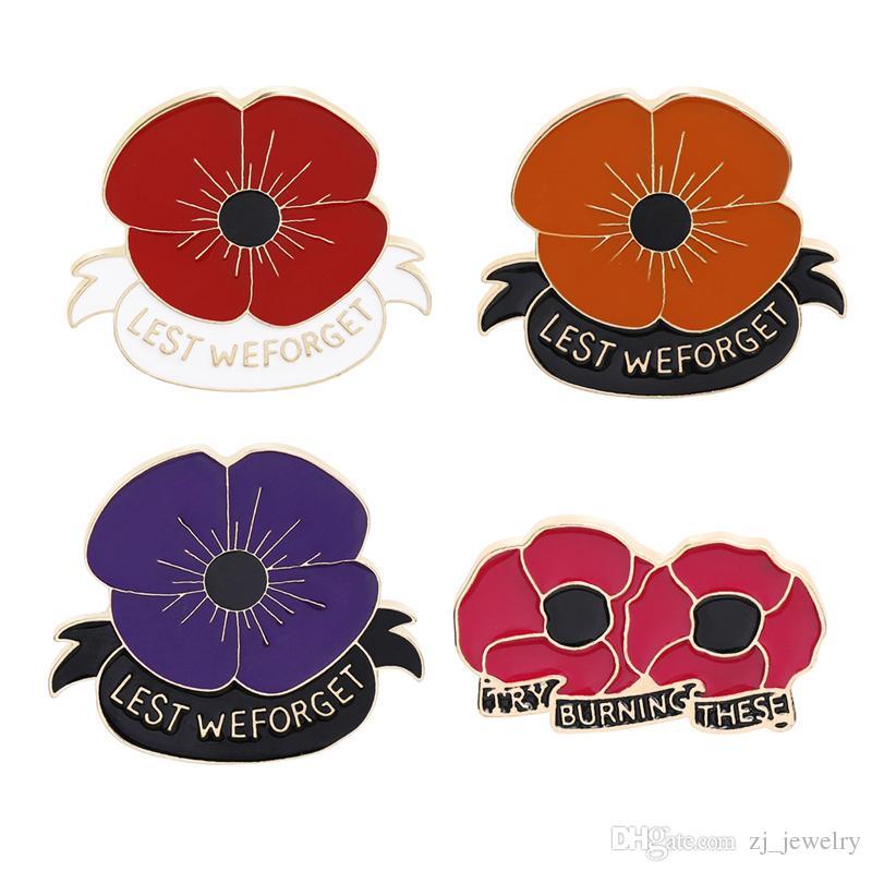 Pino de papoula vermelha Remembrance Sunday broche dia dos Veteranos lapela pinos Memorial Day Flor Jóias