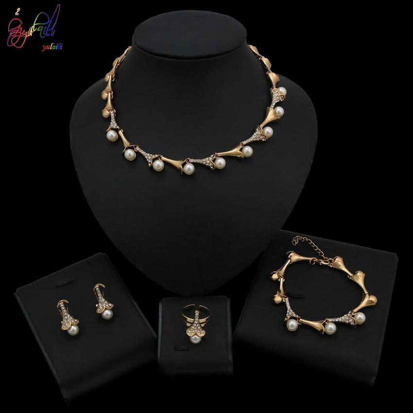 Yulaili 2019 New Wholesale Opal Crystal Jewelry Sets For Woman Pendant Necklaces Water Drop Earrings & Ring Gold Color Wedding Jewelry Gifts