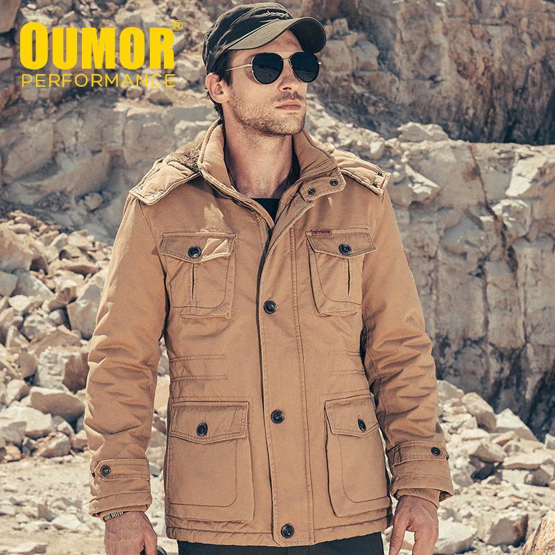 Oumor Erkekler Sonbahar Kış Uzun Rahat Polar Sıcak Ceket Kaban Siper Erkekler Mutil Cepler Kapşonlu Dış Giyim Ceketler Parkas