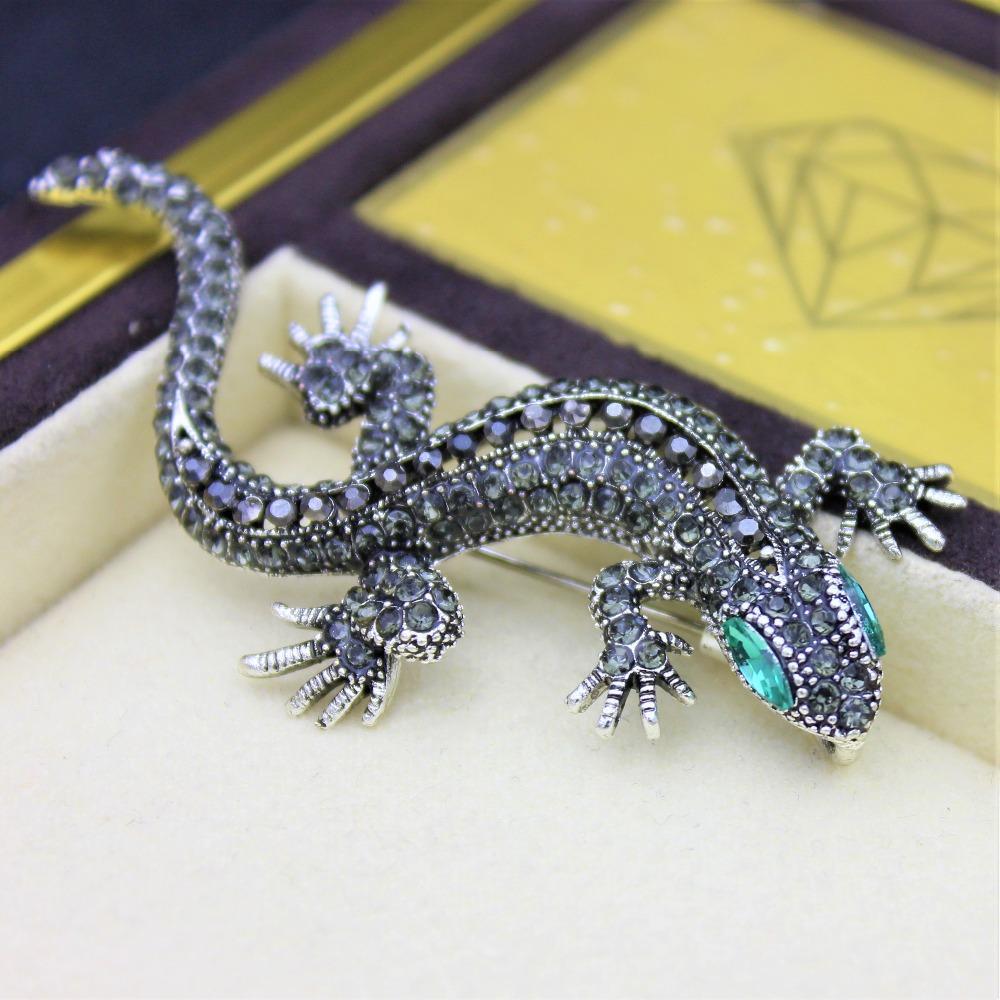 Pinler Lizard Broş İçin Kadın Gömlek Sevimli Gümüş hediyeler Moda Takı Metal Sevimli Pim Seti Emaye Yapay elmas Takı Gecko Wicca