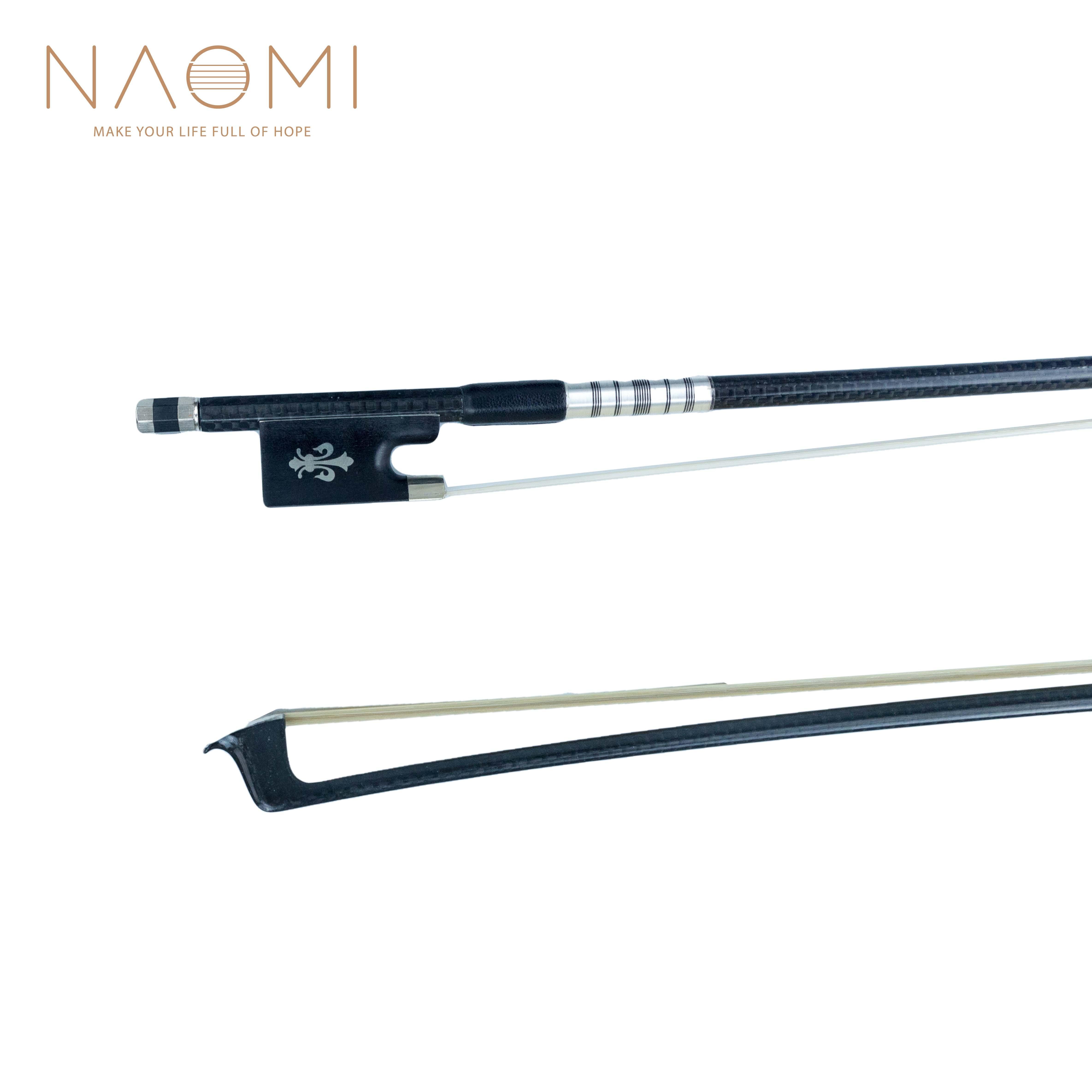 나오미 바이올린 활 4/4 바이올린 음 균형을위한 새로운 4/4 크기 탄소 섬유 활 W / 흑단 개구리 고품질 소매 용