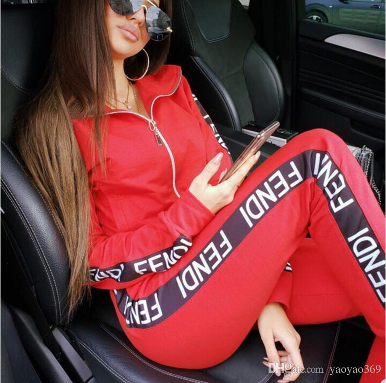 19ss Two Piece Set Women Tracksuits Spring Sweatshirt Print Long Pants Pullover Womens Set Female Sport Suits Fashion Womens Clothing