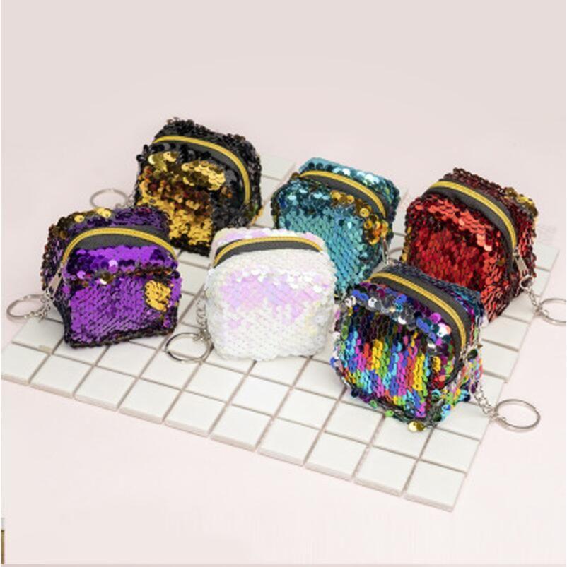 8 개 스타일 장식 조각 동전 지갑 럭셔리 블링 매직 스팽글 미니 지갑의 경우 소녀 파티 동전 키 캔디 지갑 가방 액세서리 호의