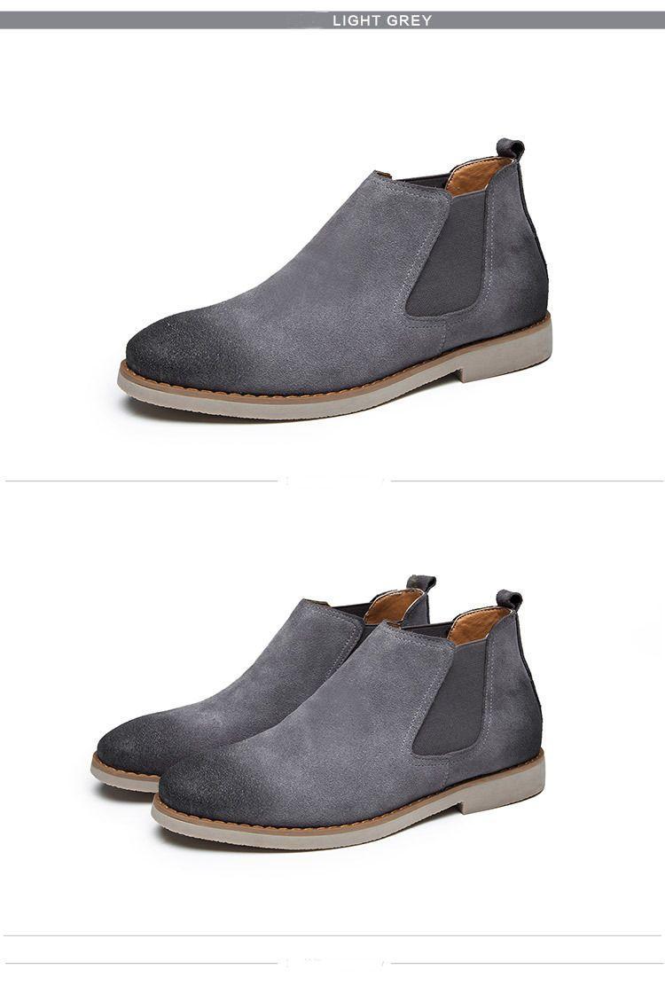 Heißer Verkauf- Stiefel Jungs Stiefeletten Mann Veloursleder-Schuhe der England-Art elastisches Geflecht Schuhe für Männer zymb01