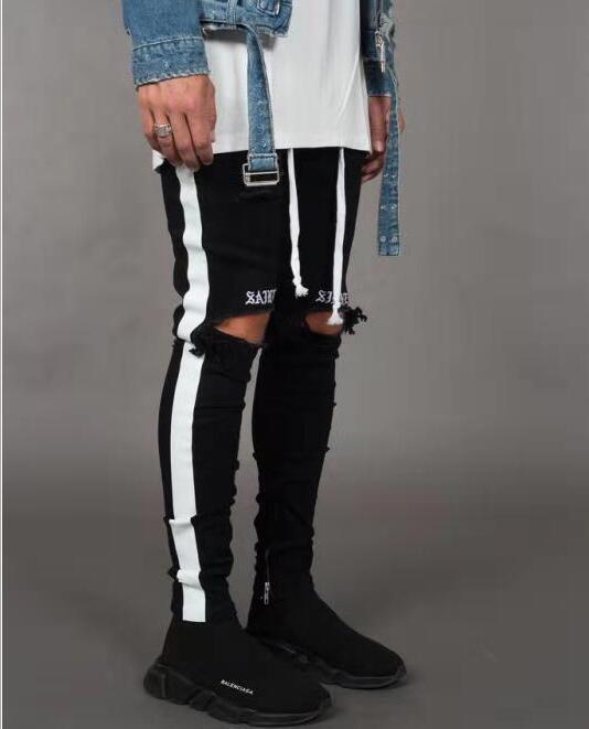 Nueva Moda para hombre de la calle Jean Negro Agujeros de diseño rayas blancas pantalones vaqueros de Hiphop monopatín lápiz