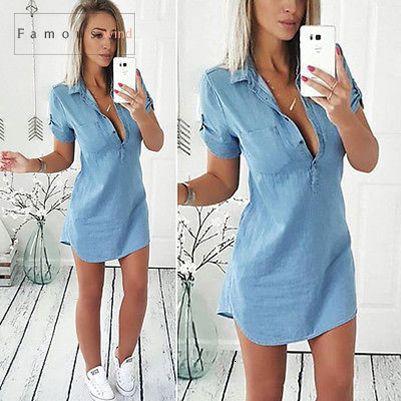 Hot Vestidos Vestido Verão Mulheres Sexy Summer Fashion Denim manga curta Casual shirt Tops Blusa Tamanho S Xl roupas de grife