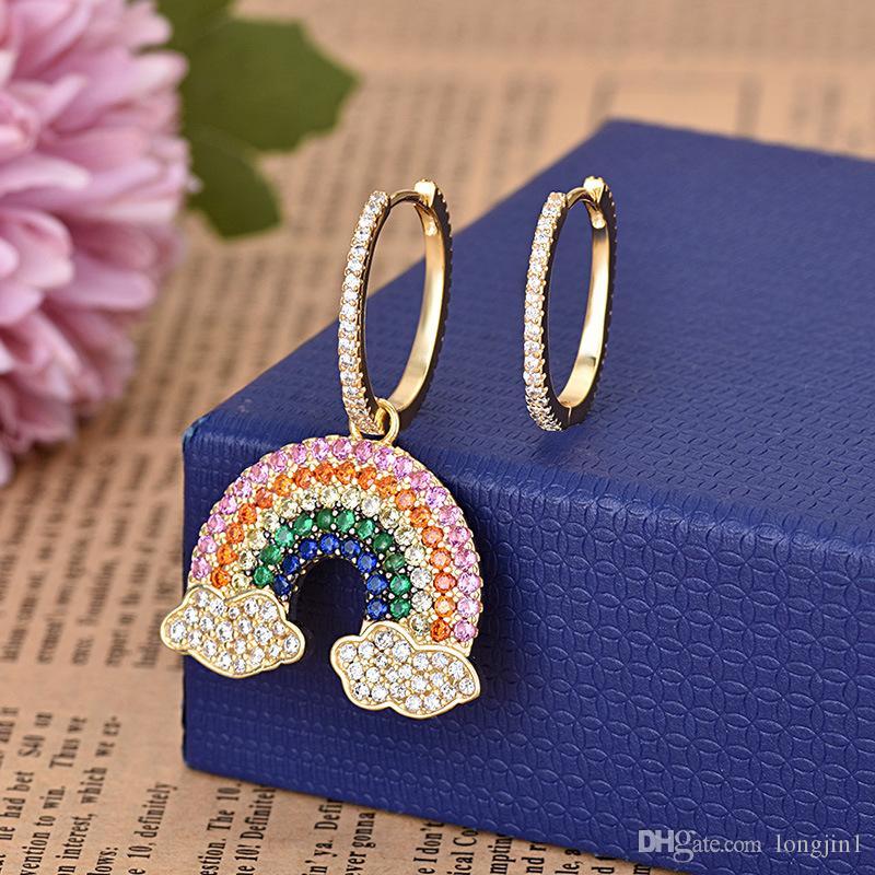 ترف السيدات وتمهيد الزركون حجر قوس قزح كليب القرط الذهب دبوس المضاد للحساسية المرأة الأزياء والمجوهرات ZK40