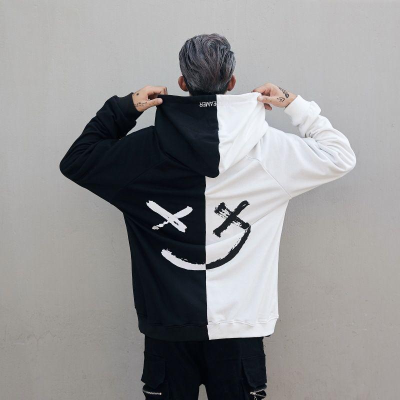 DJ Graffiti diable noir et blanc Brochage Sweatshirts hommes / hip-hop Bboy lâche couple Veste à capuche Tide