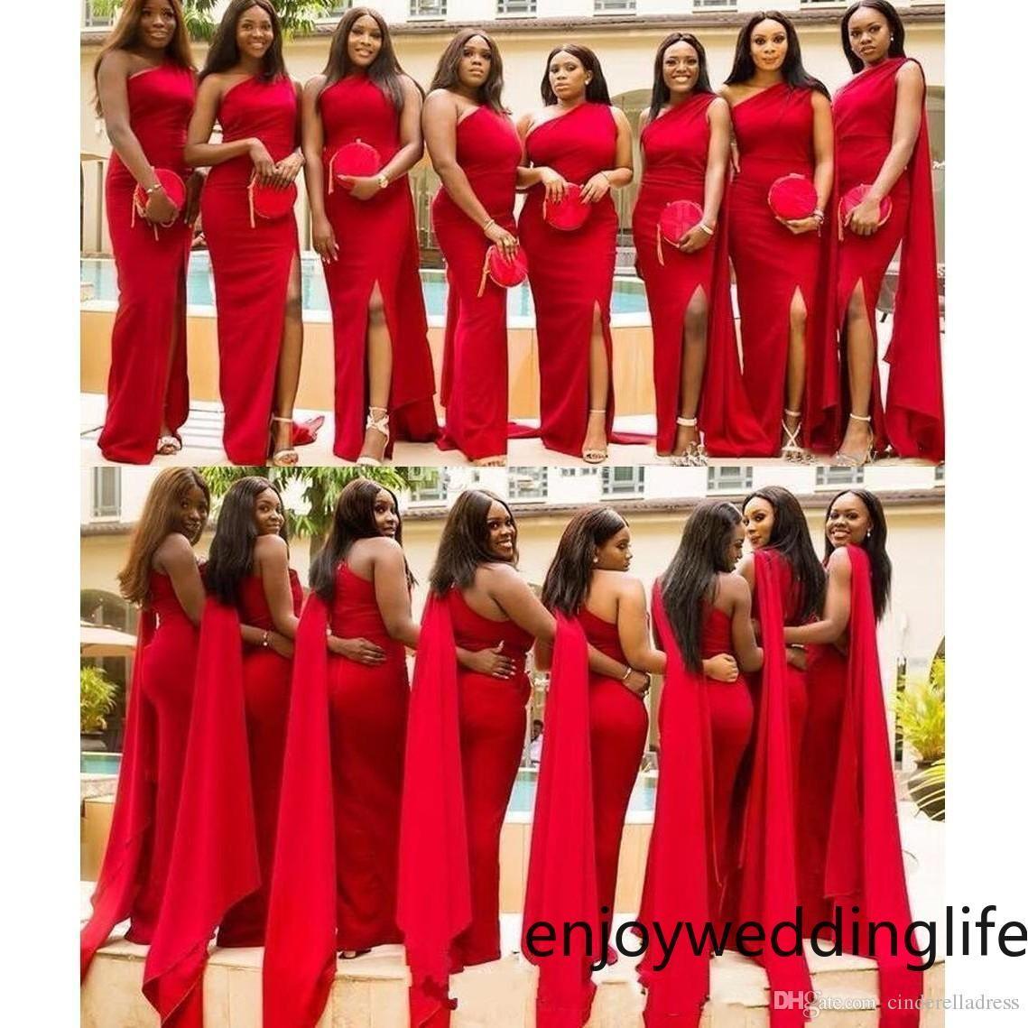 아랍어 레드 인어 신부 들러리 드레스 우아한 하나의 어깨 측면 분할 플러스 사이즈 웨딩 게스트 드레스 아프리카 하녀 명예 가운