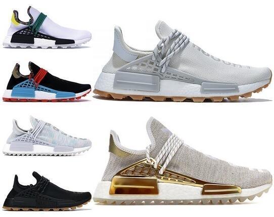 2020 Nmd Homme Race Hommes Chaussures de course avec la boîte Pharrell Williams Sample Jaune Noir Chaussures de sport de base Designer Sneakers Taille 36-47
