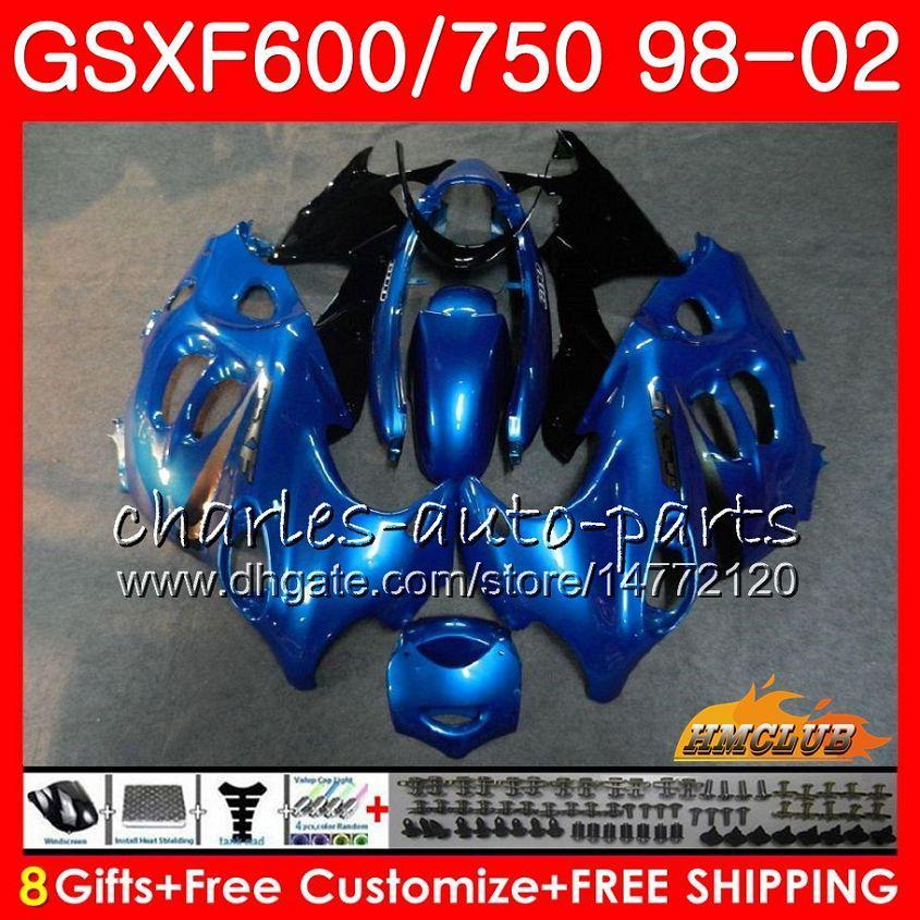 Kropp för Suzuki Katana Blue Black GSXF 750 600 GSXF600 98 99 00 01 02 2HC.28 GSX750F GSX600F GSXF750 1998 1999 2000 2001 2002 Fairing Kit