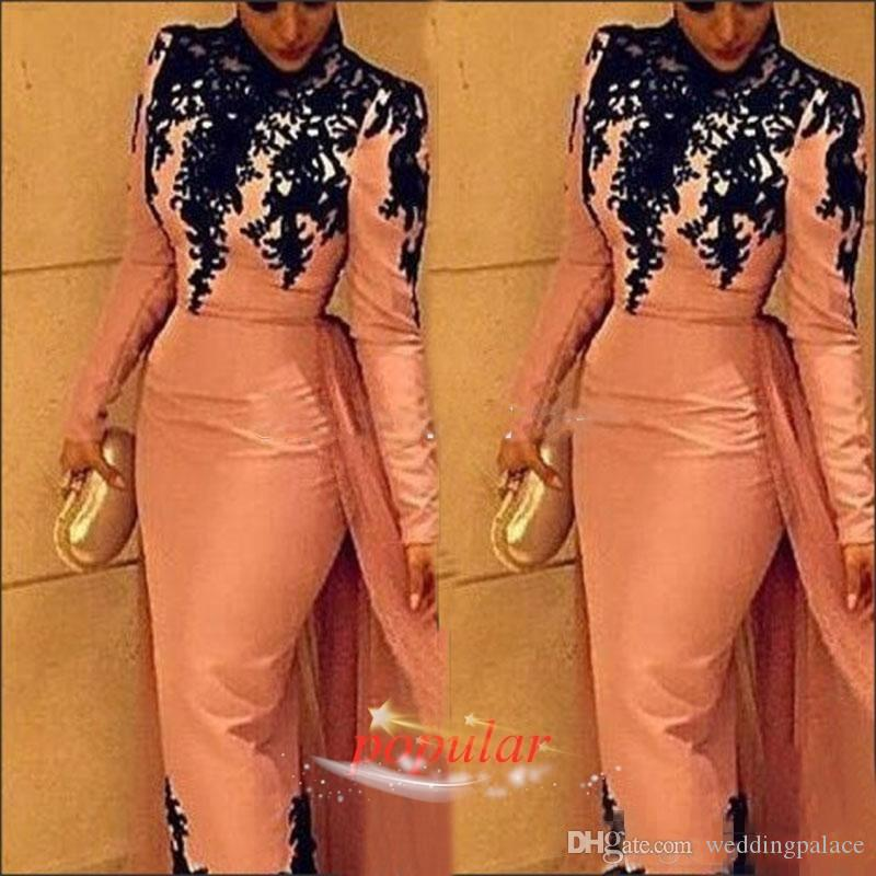 Pink Long Sleeves High Neck Muslim Evening Dresses with Overskirt Tulle Chiffon Black Applique Elegant Formal Occasion Wear