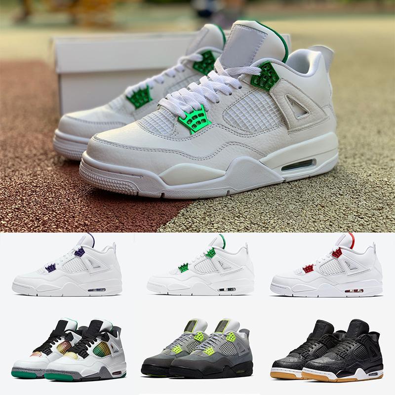 (Con la caja) RASTA ROJO metálico púrpura 4 4s zapatos de baloncesto NEON Lo que el hacer lo correcto CRIADO zapatos de baloncesto de los hombres zapatillas de deporte Deportes