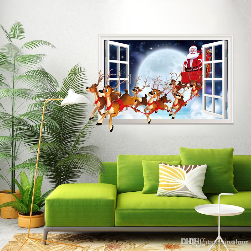 Christmas elk wall sticker decals removable Christmas wall Sticker mural Santa Claus sticker for Christmas Day home decor window stickers