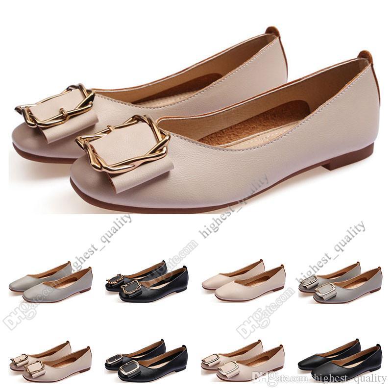السيدات حذاء مسطح الجعة الحجم 33-43 إمرأة فتاة جلدية عارية أسود رمادي جديد arrivel العمل حفل زفاف اللباس الأحذية سبعة