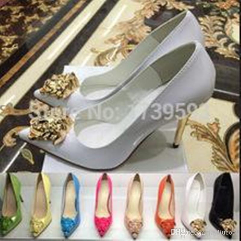 Nerw Mode Printemps Automne Pointu Toe Or Dames Tête Chaussures À Talons Hauts Noir Blanc En Cuir Verni Chaussures Habillées Escarpins Femme Taille 34-42