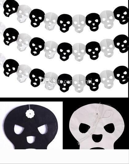 Hot Paper Chain Garland Accueil Décorations de citrouille chauve-souris fantôme araignée crâne Forme Halloween Décor Garland Deco