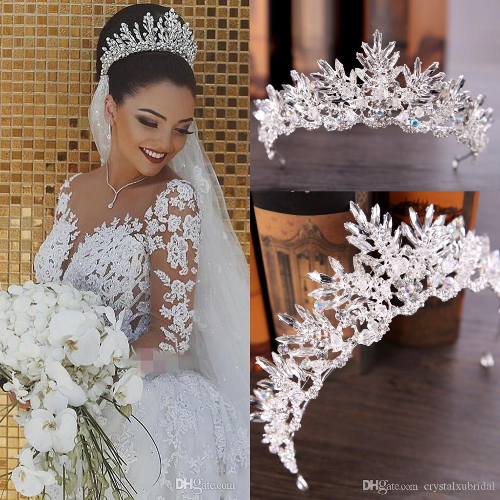 Дешево Серебряные Bling Tiaras Crowns Свадебные Волосы Ювелирные Изделия Корона Кристалл Мода Вечерние Платья вечеринки Платья Платья Аксессуары
