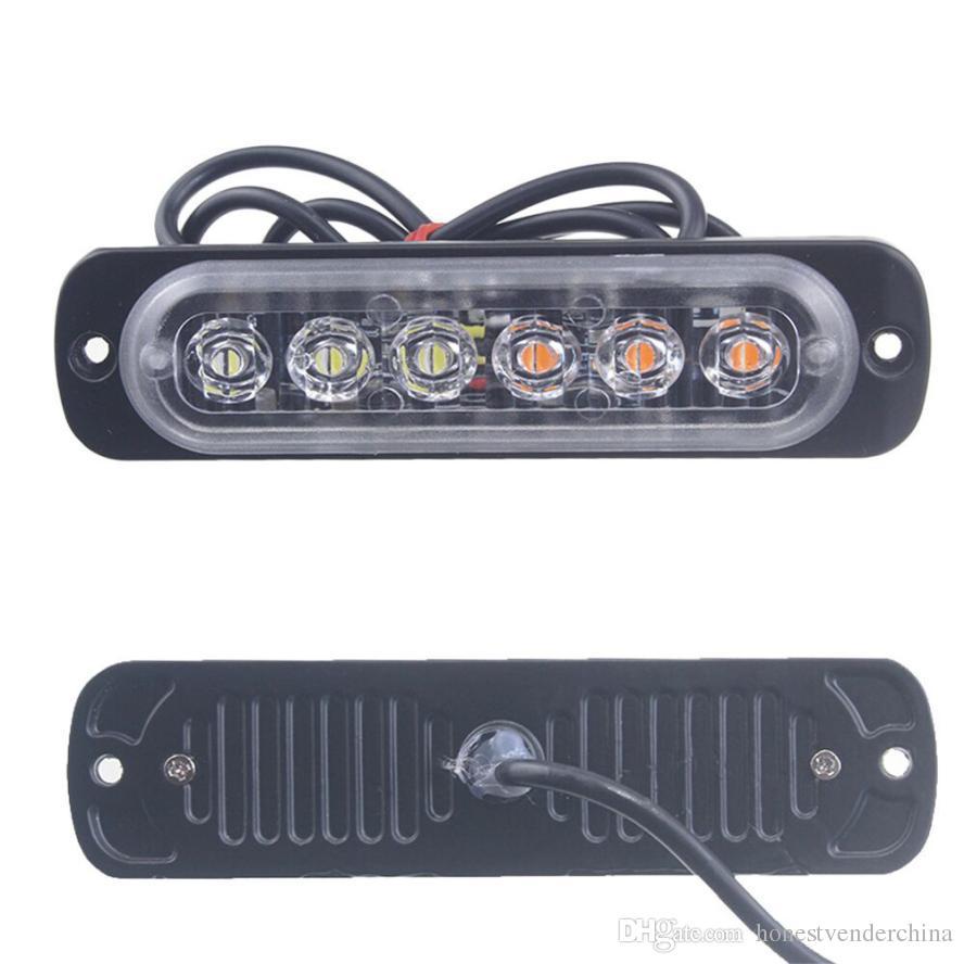 Luce auto Ambra 6 LED Car Truck Emergenza Segnale Attenzione Hazard Flash Strobe Light sep23