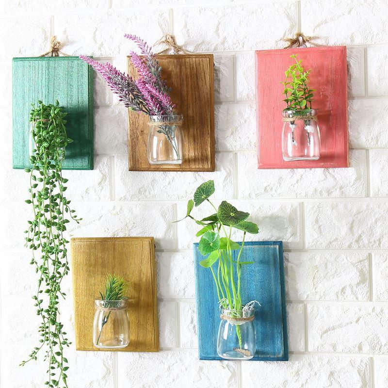 다채로운 나무 장식 보드 홈 인테리어 화분 꽃병 (83)와 1 개 유리 매달려 냄비 물 심기 화분 투명 유리 꽃병