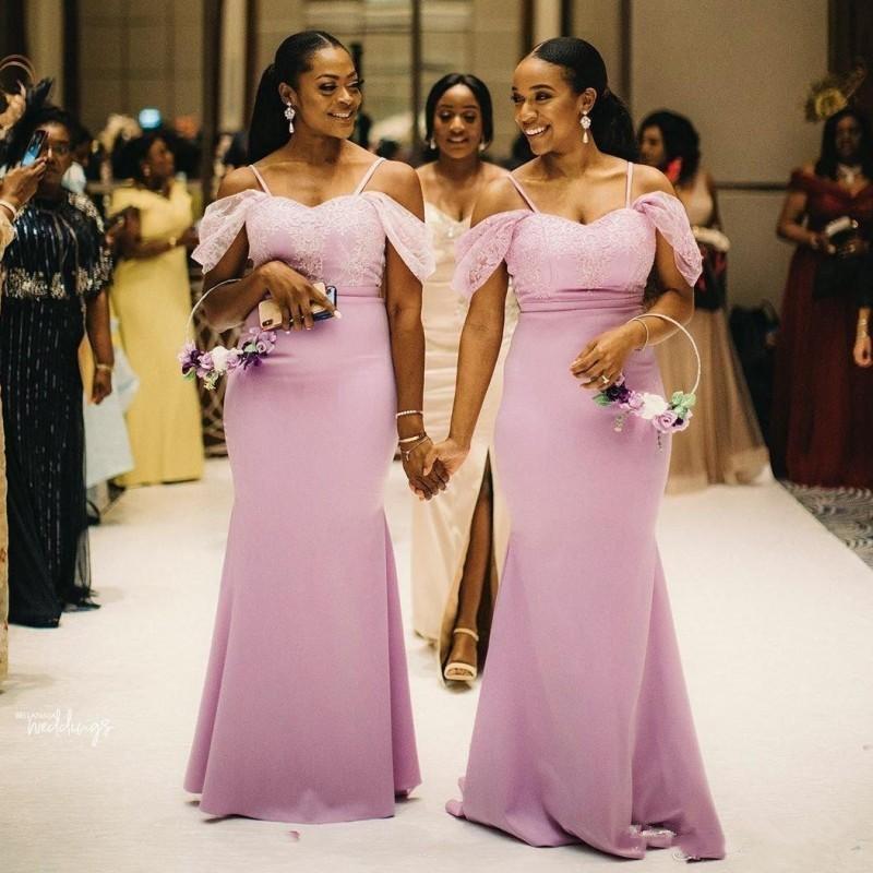 Siyah Kızlar Kapalı Omuz Mermaid Nedime Elbiseleri Uzun Dantel Aplike Spagetti Düğün Konuk Elbise Afrika Örgün Hizmetçi Onun Görevlileri