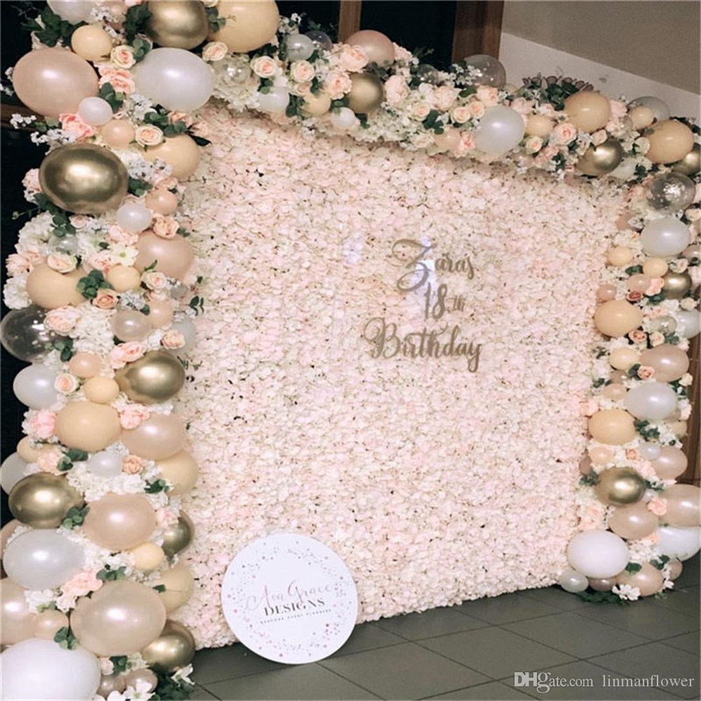 40 * 60 cm Tema blanco Boda Rose Hydrangea Flower Wall Seda Panel de flores artificiales para la decoración del arco de la fiesta de bodas