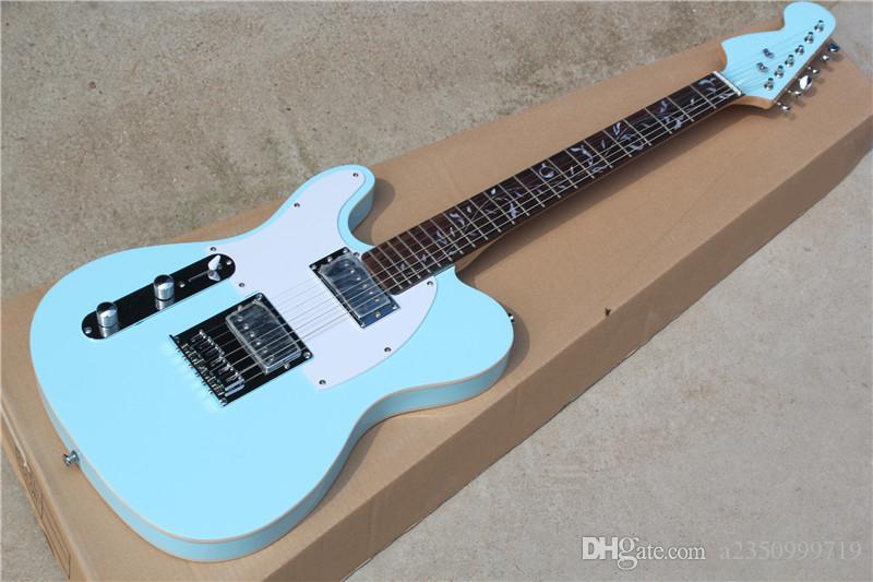 freies Verschiffen Blau Körper der linken Hand elektrische Gitarre mit Spiegel Schlagbrett, Palisander Griffbrett mit Tree of Life Inlay, bieten maßgeschneiderte