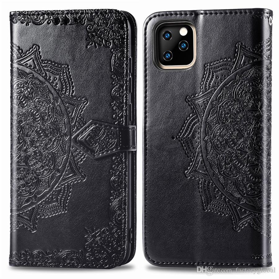 Mandala кожа карты Слоты бумажника случая телефона крышки с карты Слоты кошелек кожаный чехол для iPhone 12 11 про макс Samsung LG Moto