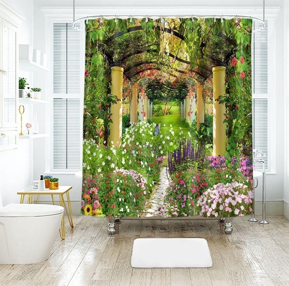 EVA Floral Bathroom Shower Curtain Thicken Translucence Curtain Waterproof Fairy